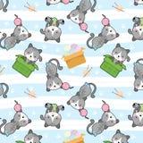 Śliczny kot w pudełkowatym wektorowym bezszwowym wzorze ilustracja wektor