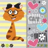Śliczny kot z deseniową ilustracją Zdjęcie Royalty Free