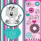 Śliczny kot z kwiecistą deseniową ilustracją Obrazy Royalty Free