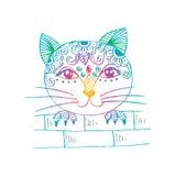 Śliczny kota podglądanie Kreskówka styl Zdjęcie Royalty Free