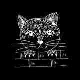 Śliczny kota podglądanie Kreskówka styl Zdjęcia Stock