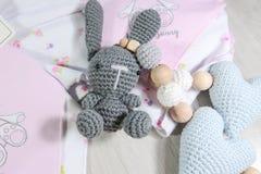 Śliczny królik, dziecko zabawka, pacyfikatoru właściciel obraz royalty free