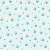 Śliczny królik w teacup i serc ilustraci, bezszwowy wzór na błękitnym tle Obrazy Royalty Free