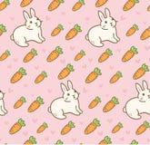 Śliczny królik z marchwianym bezszwowym wzorem ilustracji