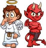 Śliczny kreskówka anioł, diabeł i royalty ilustracja