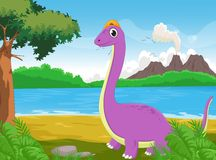 Śliczny kreskówka dinosaur z tłem Obrazy Stock