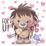Śliczny kreskówka jeż z kwiatem Zdjęcie Royalty Free