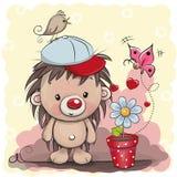 Śliczny kreskówka jeż z kwiatem royalty ilustracja