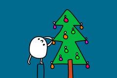 Śliczny kreskówka mężczyzna dekoruje nowego roku drzewa z lampionami wręcza patroszoną ilustrację dla druków plakatów broszurki ilustracja wektor