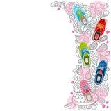 Śliczny kreskówka modnisia gumshoes tło Zdjęcia Stock