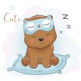 Śliczny kreskówka niedźwiedź śpi z oko maską royalty ilustracja