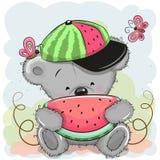 Śliczny kreskówka niedźwiedź z arbuzem ilustracji