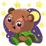 Śliczny kreskówka niedźwiedź z powszechnym obsiadaniem w nocy clipart wektorze z księżyc i gwiazdami Obrazy Stock