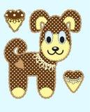 Śliczny kreskówka pies w płaskim projekcie dla kartka z pozdrowieniami, zaproszenia i loga z tkaniny teksturą, wektor Zdjęcia Stock