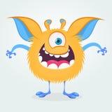 Śliczny kreskówka potwór z jeden okiem Uśmiechnięta potwór emocja z dużym usta Wektorowa Halloween ilustracja ilustracji