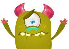 Śliczny kreskówka potwór z rogami i jeden okiem Płaczu potwora emocja Wektorowa Halloween ilustracja ilustracji