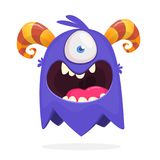 Śliczny kreskówka potwór z rogami z jeden okiem Uśmiechnięta potwór emocja z dużym usta Wektorowa Halloween ilustracja royalty ilustracja