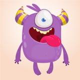 Śliczny kreskówka potwór z rogami z jeden okiem Uśmiechnięta potwór emocja z dużym usta Wektorowa Halloween ilustracja ilustracja wektor