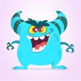 Śliczny kreskówka potwór z rogami Uśmiechnięta potwór emocja z dużym usta Wektorowa Halloween ilustracja royalty ilustracja