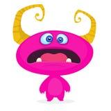 śliczny kreskówka potwór Zdziwiona śmieszna różowa potwór emocja Wektorowa Halloween ilustracja royalty ilustracja