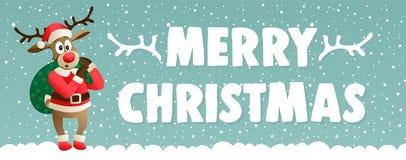 Śliczny kreskówka renifer ubierał w kostiumowym Święty Mikołaj Wesoło bożych narodzeń kartka z pozdrowieniami wektorowy ilustracy Zdjęcia Royalty Free
