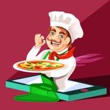 Śliczny, kreskówka szef kuchni z naczyniem z pizzą iść out od telefonu komórkowego ekranu ilustracja wektor