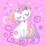 Śliczny, kreskówka, tęcza kota jednorożec na różowym tle wektor ilustracja wektor