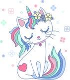 Śliczny, kreskówka, tęcza kota jednorożec wektor royalty ilustracja