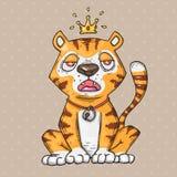 śliczny kreskówka tygrys Kreskówki ilustracja w komicznym modnym stylu ilustracja wektor