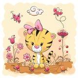 Śliczny kreskówka tygrys na łące ilustracji