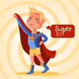 Śliczny, kreskówka, urocza bohater chłopiec ilustracja wektor