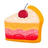 Śliczny kreskówka wektoru torta kawałek Zdjęcia Royalty Free