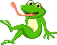 Śliczny kreskówki żaby obsiadanie Obrazy Royalty Free
