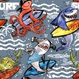 Śliczny kreskówki dennej ryba bezszwowy wzór rocznik kipieli tło Fotografia Royalty Free