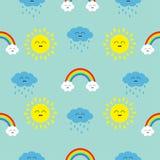 Śliczny kreskówki kawaii słońce, chmura z deszczem, tęcza set Uśmiechnięta twarzy emocja Dziecko charakteru Bezszwowy Deseniowy O ilustracji