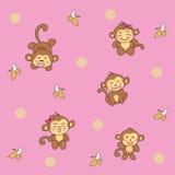 Śliczny kreskówki małpy wzór kontynuujący Wektorowa Ilustracja Zdjęcie Stock
