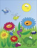 Śliczny kwiatu ogród z szczęśliwymi kwiatami royalty ilustracja