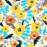 śliczny kwiecisty deseniowy bezszwowy tło rysująca kwiatów ręka Zdjęcie Royalty Free