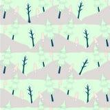 Śliczny lasowy bezszwowy wzór Pastelowego colour kreskówek projekta zieleni drzewo, jedlinowy drzewo, menchia ono rozrasta się ilustracja wektor