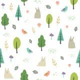 Śliczny lasowy tło wektor bezszwowy wzoru Fotografia Stock