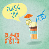 Śliczny lato plakat - koktajl z parasolem, cytryna Obrazy Royalty Free