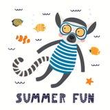 Śliczny lemur w lecie ilustracji