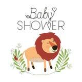 Śliczny lew z wianku dziecka prysznic kartą ilustracja wektor