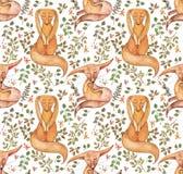 Śliczny lis i kwiatu bezszwowy wzór Modny szablon dla projekta odziewa Klasyczny hafciarski bezszwowy ilustracji