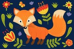 Śliczny lis i rośliny ilustracji