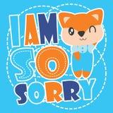 Śliczny lis i zmartwiona tekst kreskówki ilustracja dla dzieciaka t koszulowego projekta ilustracji
