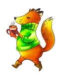 Śliczny lis w zielonym pulowerze pije aromatyczny kawowy aktywnego Odosobniony przedmiot royalty ilustracja