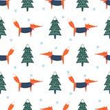 Śliczny lis, xmas drzewo i płatka śniegu bezszwowy wzór, ilustracji