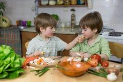 Śliczny Little Boy Karmi Jego brat bliźniak Z pasternakiem przy Kuchennym stołem Zdjęcie Royalty Free