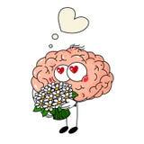 Śliczny ludzkiego mózg spadek w miłości, z bukietem kwiaty na białym tle royalty ilustracja